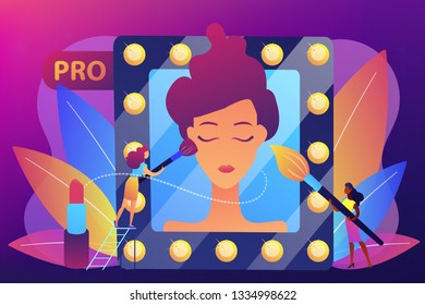 Professional makeup artists applying make up with brush on woman face in mirror. Professional makeup, pro artistry, makeup artist work concept. Bright vibrant violet vector isolated illustration