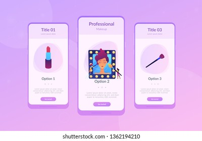 Professional makeup artists applying make up with brush on woman face in mirror. Professional makeup, pro artistry, makeup artist work concept. Mobile UI UX GUI template, app interface wireframe