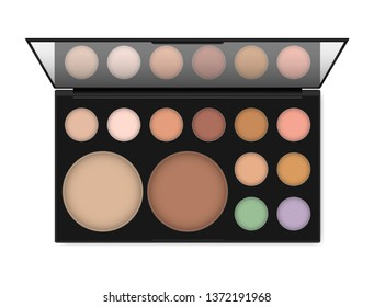 Professional make-up palette isolated on white background, realistic illustration. Eyeshadow or concealer, powder kit. Open makeup case with mirror, vector template.