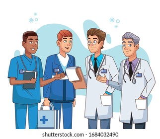 professional male doctors staff characters vector illustration design