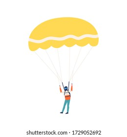 Professional male skydiver landing with parachute vector flat illustration. Extreme sportsman enjoying parachuting isolated on white background. Active person practice dangerous hobby