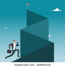 Professional man running up stairway to mountain peak. Business sucess vector concept. Businessman run to stairway up illustration
