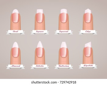 Professional manicure different shapes of nails vector template