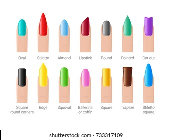 Professional manicure. Nail shape icons. Colorful woman fingernails set. Vector illustration.