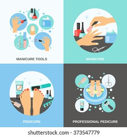 Professional manicure and pedicure procedure tools and accessories 4 flat icons square banner abstract isolated vector illustration