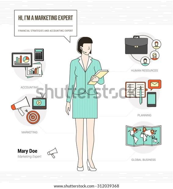 Professional Marketing Expert Infographic Skills Resume Stock