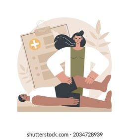 Professional massage therapy abstract concept vector illustration. Professional sport therapy, massage injury treatment, wellness services, spa relaxation, alternative medicine abstract metaphor.