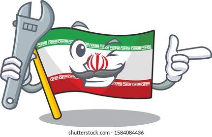 Professional Mechanic flag iran mascot cartoon character style