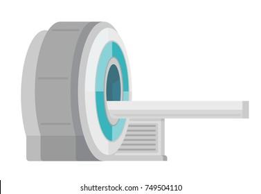 Professional medical MRI scanner machine. Medical equipment. Vector cartoon illustration isolated on white background.
