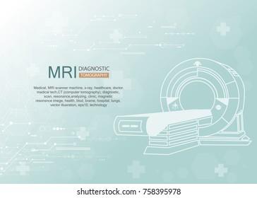 Professional medical MRI scanner machine. Medical diagnostic. Vector illustration.