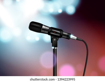 Professional microphone concert realistic composition with vocal mic image mounted on stand with colourful blurred background vector illustration