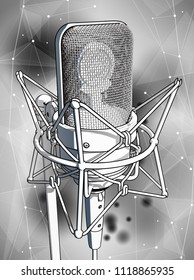 A professional microphone on a gray technological background is surrounded by a sound wave. Atmosphere of sound recording studio, chamber concert, night disco club or karaoke club / vector