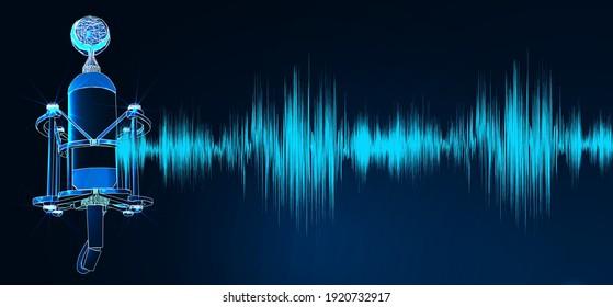 Professionelles Mikrofon mit Wellenform auf blauem Hintergrund, Podcast oder Studiohintergrund. Digitaler Low-Poly-Wireframe futuristischer Vektorgrafik.