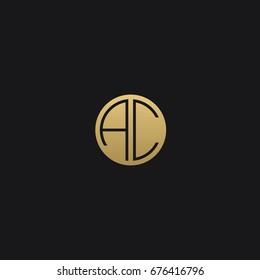 Professional Minimal Circular Shape initials AC or CA logo template of in vector
