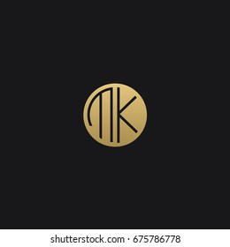 Professional Minimal Circular Shape logo MK Icon in Black and golden color
