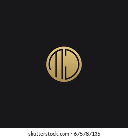 Professional Minimal Circular Shape logo MJ Icon in Black and golden color