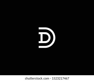 Professional and Minimalist Letter AD DD DC Logo Design, Editable in Vector Format in Black and White Color