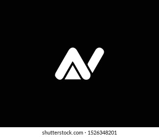 Professional and Minimalist Letter AV NV Logo Design, Editable in Vector Format in Black and White Color