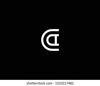 Professional and Minimalist Letter CA CD Logo Design, Editable in Vector Format in Black and White Color