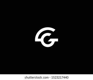 Professional and Minimalist Letter CG GC Logo Design, Editable in Vector Format in Black and White Color