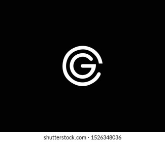 Professional and Minimalist Letter CG GC OC GO Logo Design, Editable in Vector Format in Black and White Color