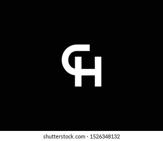 Professional and Minimalist Letter CH HC Logo Design, Editable in Vector Format in Black and White Color