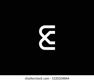 Professional and Minimalist Letter E EC CE Logo Design, Editable in Vector Format in Black and White Color