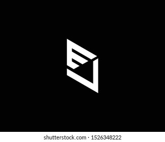 Professional and Minimalist Letter EV VE Logo Design, Editable in Vector Format in Black and White Color