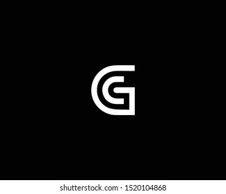 Professional and Minimalist Letter GC CG Logo Design, Editable in Vector Format in Black and White Color