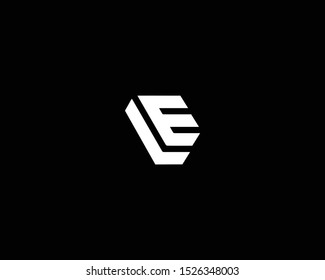 Professional and Minimalist Letter LE EL Logo Design, Editable in Vector Format in Black and White Color