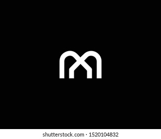 Professional and Minimalist Letter M MN NM Logo Design, Editable in Vector Format in Black and White Color