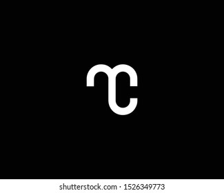 Professional and Minimalist Letter MC CM MO Logo Design, Editable in Vector Format in Black and White Color