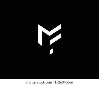 Professional and Minimalist Letter MF FM Logo Design, Editable in Vector Format in Black and White Color