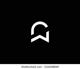 Professional and Minimalist Letter NW WN CW WC Logo Design, Editable in Vector Format in Black and White Color