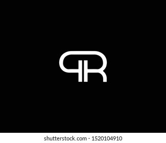 Professional and Minimalist Letter QR PR Logo Design, Editable in Vector Format in Black and White Color