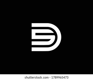 Professional and Minimalist Letter SD DS Logo Design, Editable in Vector Format in Black and White Color