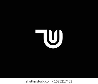 Professional and Minimalist Letter TU UT Logo Design, Editable in Vector Format in Black and White Color