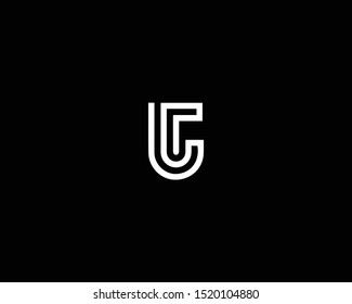 Professional and Minimalist Letter UT TU Logo Design, Editable in Vector Format in Black and White Color