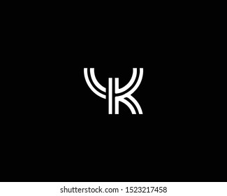 Professional and Minimalist Letter YK UK Logo Design, Editable in Vector Format in Black and White Color