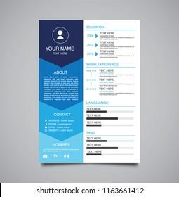 professional minimalist template curriculum vitae blue gradient