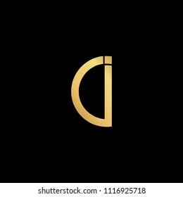 professional modern creative fresh Initial letter CI IC minimalist art logo, gold color on black background