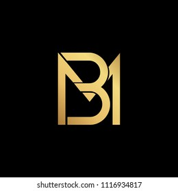 professional modern creative fresh Initial letter BM MB minimalist art logo, gold color on black background