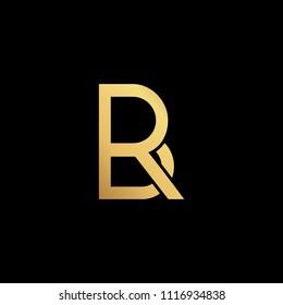 professional modern creative fresh Initial letter BR RB minimalist art logo, gold color on black background