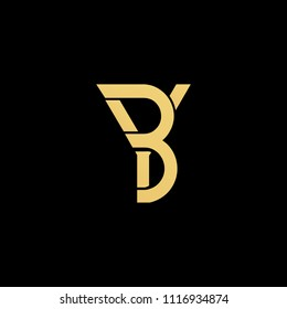 professional modern creative fresh Initial letter BY YB minimalist art logo, gold color on black background