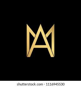 professional modern creative fresh Initial letter AM MA minimalist art logo, gold color on black background