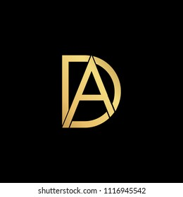 professional modern creative fresh Initial letter AD DA minimalist art logo, gold color on black background