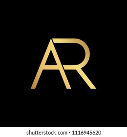 professional modern creative fresh Initial letter AR RA minimalist art logo, gold color on black background