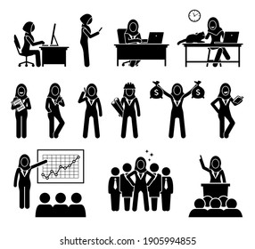 Professional modern Muslim executive businesswoman working in office. Vector of Islamic business woman wearing a hijab working with computer, talking at phone, earning money, and being leader or CEO.