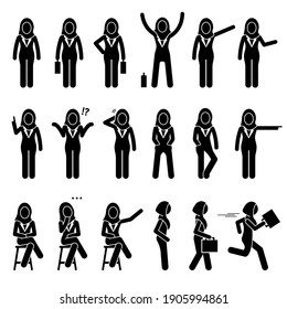 Professional modern Muslim executive businesswoman poses, postures, and actions. Vector illustrations of Islamic business woman wearing a hijab standing, talking, walking, sitting, and running.
