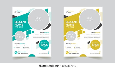 Professional and Modern Real-Estate Flyer Template Design in US Letter Size For Your Company